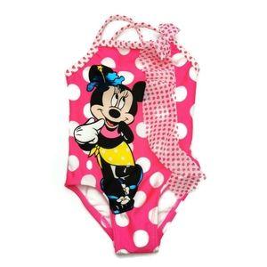New Minnie Mouse Disney Pink Polkadot Swimsuit 3-6